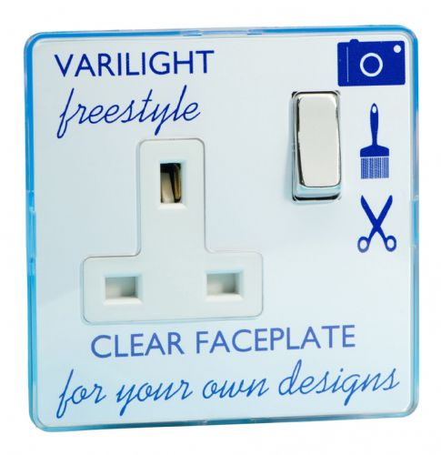 Varilight XIF4CW Freestyle Clear 1 Gang 13A DP Single Switched Plug Socket